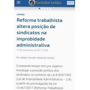 Artigo Do Sócio, Prof. Rafael Oliveira, Aborda Os Impactos Da Reforma Trabalhista Sobre Os Sindicatos Na Improbidade